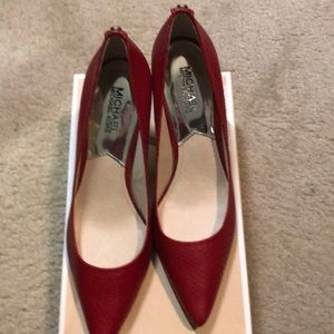 Michael Kors Red Embossed Leather Pumps